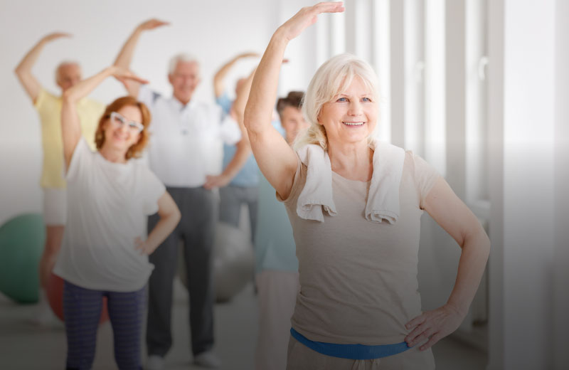 Elderly people taking part in Mobility Movement & Memory Classes To Music